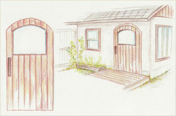 カフェのフロントドア