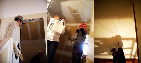 天井のペンキ塗りと漆喰塗り