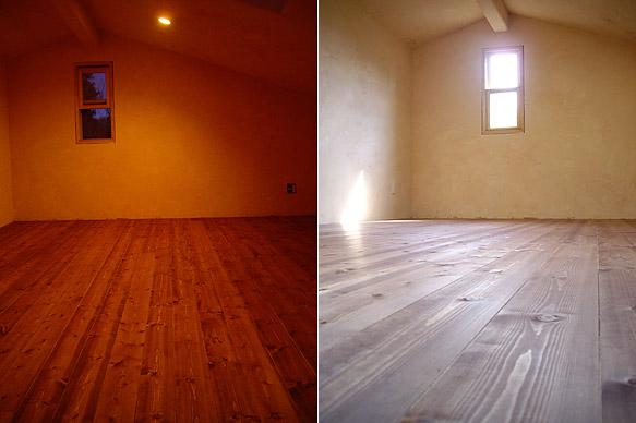 自然塗料で塗った屋根裏の床